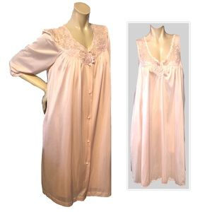 LORRAINE PINK GOWN AND ROBE SET